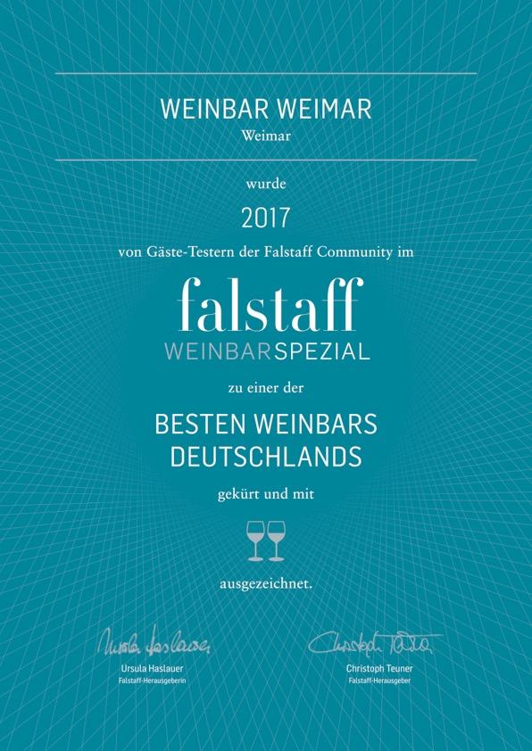 Falstaff 2017 Urkunde